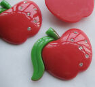 W/Crystal Big Red Apple Resin Flatback Button DIY Scrapbooking 5/20pcs JCN031