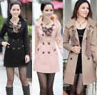 NEW Women Lady Slim Fit Trench Double Breasted Coat Jacket Scarf Outwear 4 Color
