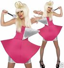 Lady Gaga Fancy Dress Costume Pop Icon Pink Diva Idol Fancy Dress UK 8-10 12-14