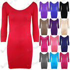 Womens Ladies 3/4 Sleeves Scoop Neck Stretchy Plain Party Bodycon Mini Dress Top