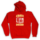 CRATE DIGGER VINYL JUNKIE DJ RECORDS UNISEX HOODED TOP HOODIE ALL SIZES COLOURS