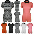 Womens Ladies Short Sleeves Collar Plain Aztec Stripes All in One Playsuit Dress