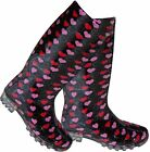 LADIES BLACK WITH PINK & RED LOVEHEARTS FASHION WELLIES WELLINGTON BOOTS  RAIN