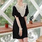 Vintage Crochet Eyelet Lace Neck Jersey Black Mini Dress/Long Top dr081