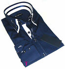 Brand New Mens Formal, Smart, Navy Blue with White Double Collar Slim Fit Shirt