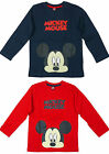 Boys Disney Mickey Mouse Face Print Long Sleeve T-Shirt Top 2-8 yrs NEW