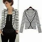 Korean Womens New Lapel Striped Anchor Buttons Blazer Outwear Suit Tops Vogue