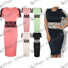 Womens Ladies Mesh Lace Short Sleeves Bodycon Pencil Party Long Midi Dress Top