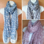 Ladies HEART SCARF Love Print Summer Beach Cover up Fashion Large Long Scarves