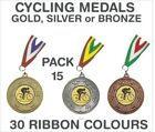 PACK OF 15 (0.70p each) Cycling Medals Budget and Ribbon Metal 50mm GMM7050-MR1