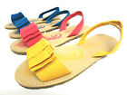 Girls Spot On Canvas Flat Sandals with Bow Trim & Slingback Strap H0125