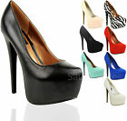 Ladies Womens Stiletto High Heels Pointy Concealed Platform Court Shoes Size 3-8