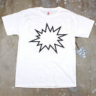 Mens Simple Minimal Modern Art Graphic Pow Bang Humor Graphic T Shirt New White