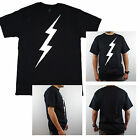 Mens Simple Minimal Art Graphic Lightening Bolt Humor Graphic T Shirt New Black
