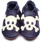 Inch Blue Boys Baby Luxury Leather Soft Sole Pram Shoes - Skull Navy Blue