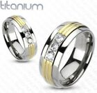 Solid Titanium Gold IP Center Triple CZ Band Ring/Couples/Mens/Womens 5-13(3170)