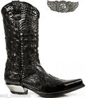 Newrock New Rock Ladies 7921-S1  Leather West Black Crush Cowboy Leather Boots