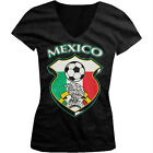 Mexico World Cup Soccer Flag Crest Mexican Pride Girls Junior V-Neck T-Shirt