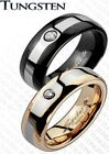 New Set(2)Tungsten Black/Rose Gold CZ Band Rings/Wedding/Couples/His&Hers(127x2)