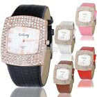 Leather Strap Crystal Rhinestone Ladies Women Analog Quartz Wrist Watch Fashion