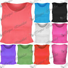 New Womens Ladies Ribbed Cropped Plain Stretchy Gym Sleeveless Vest Crop Tee Top