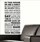 Large Quote In This House Rules Trust Say I Love You Wall Sticker Transfer Decal