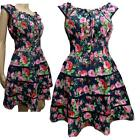 Gypsy Rose Floral Cotton Tiered Elasticated Waist Lace Trim Summer / Sun Dress