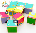 educational wooden toy cartoon colorful Pattern six sides puzzle block gift 1set