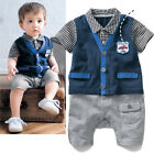 Kids Baby Boys Clothes Summer Plaid Romper Suit Birthday Party 6M-2Y Outfits