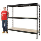 Heavy Duty Racking Shelving 3 Levels Galvanised or Black Steel Storage BiGDUG