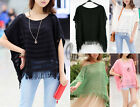 Fringe Hollow Knit Loost Poncho Sweater Coat Pullover Jumper Top AU SELLER T109