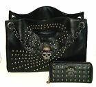 Designer Inspired Black Skull Studded Faux Leather Punk Rocker Handbag