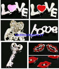 20x Silver Plated 3D Alloy Rhinestone Key to Heart Love Mouth Nail Art Tip Decal