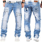 Mens Designer Jeans Kosmo Lupo Tapered Fit Stylish Funky Party Club Fashion Jean