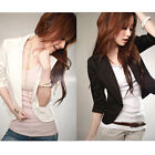 Women's Sexy 3/4 Sleeve One Button Small Suit Short Jacket Blazer Size S-XXXL