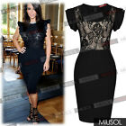 Women's Floral Lace Ruffle Sleeve Evening Ball Gown Slim Bodycon Party Dresses68