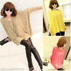 Women Top Oversized Layering Tunic Knit Sweater Sleeve Free Size Batwing Coat CA