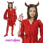Kids Red Devilish Diva Girls Halloween Party Fancy Dress Costume Outfit