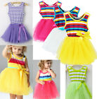 Baby Girls Kids Princess One-pieces Dress Kids Tulle Stripes Vest Skirt Clothes