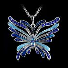 Tibet Silver Butterfly Pendant Charms Necklace Pendant Enamel Crystal Rhinestone