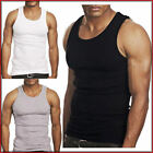 3 Pieces MENS 100% COTTON VESTS FITTED SLEEVELESS GYM TRAINING SUMMER TANK TOP-