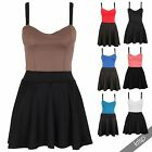 Womens Ladies Contrast Strappy Sleeveless Flared Skater Swing Mini Dress Party