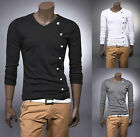 Hot Sale New Mens Fashion button Casual Slim fit V-neck T shirt tops Tee 3 color