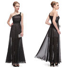 Ever Pretty Elegant Black One Shoulder Long Chiffon Evening Party Dresses 08014