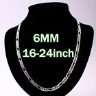 4-12MM Silver Jewelry Lady/Men s925 Silver Necklace Silver Chain 16-24inch +BOX