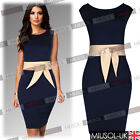 Womens Formal Contrast Peplum Slim Pencil Bodycon Business Evening Party Dresses