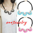 Chic Women Crystal Flower Choker Bib Statement Chunky Collar Necklace