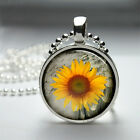 "**SUNFLOWER** Choice Of Glass Domed 1"" Round Pendant With Ball Chain ~USA Seller"