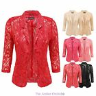LADIES WOMENS PADDED OPEN FRONT LACE BLAZER SUMMER SMART SUITS COAT JACKET TOP
