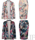 NEW WOMENS LADIES MULTI TROPICAL PRINT BLAZER AND PENCIL SKIRT (SIZES 8-14)